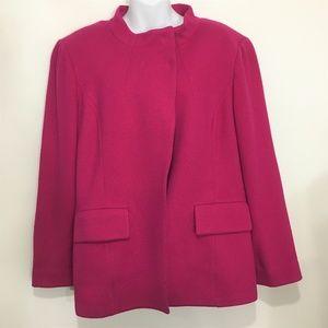 St John 14 Dark Pink Raspberry Wool Unlined Blazer